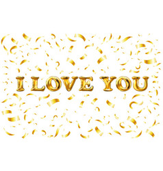 Golden i love you sign background balloon gold vector