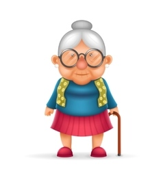 Granny old lady 3d realistic cartoon character vector