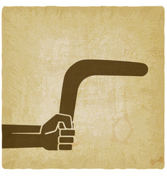 Hand with boomerang old background vector