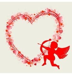 Heart design with cupid vector