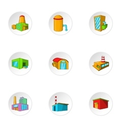 Industrial complex icons set cartoon style vector