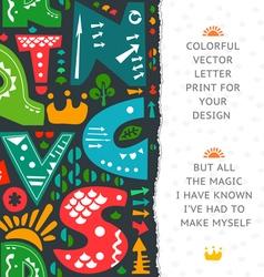 Letter print design vector image vector image