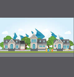 modern family house on mountain againt the blue vector image