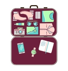 Modern tourist stuff in suitcase vector image vector image
