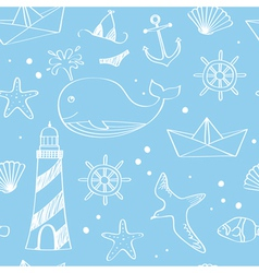 Nautical doodles vector image