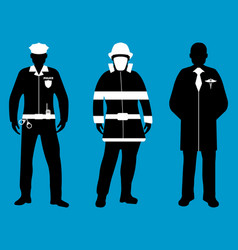 Policeman doctor fireman flat icons service 911 vector