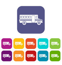 school bus icons set vector image vector image