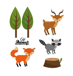 set cute wild animal with natural trees vector image vector image