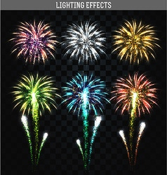 Set of 6 realistic fireworks different colors vector image vector image