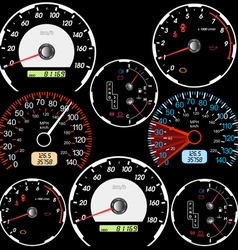 Set of car speedometers vector image