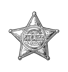 Sheriff star vintage black engraving vector