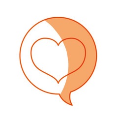 Silhouette chat bubble with heart inside icon vector