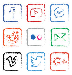 stylised social media icon set vector image