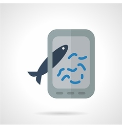 Taking fish photo flat icon vector