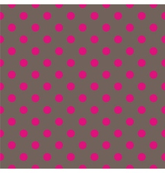 Tile pattern pink polka dots on brown background vector image vector image