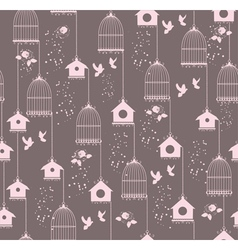 Vintage bird house seamless vector