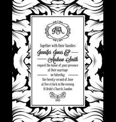 vintage delicate formal invitation card vector image vector image