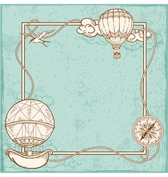 Vintage frame with air balloons vector image