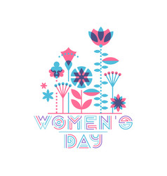 womens day card flat floral design flowers vector image vector image