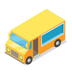 yellow waggon for implementation of street food vector image vector image
