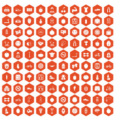 100 fitness icons hexagon orange vector