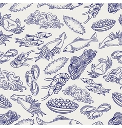 Healthy seafood ball pen seamless pattern vector