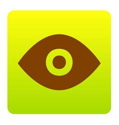 eye sign   brown icon at green vector image