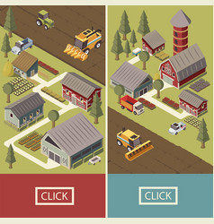 Farm vehicles isometric banners vector