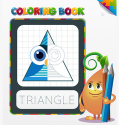 Coloring book triangle geometric form vector