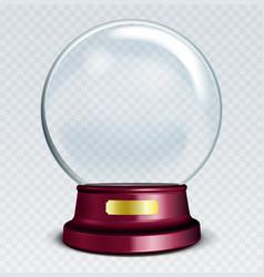 empty snow globe white transparent glass sphere vector image
