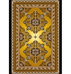 Carpet in the old style with a gold background vector