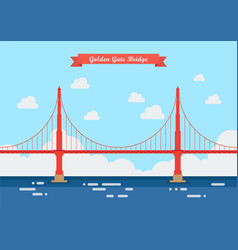 Golden gate bridge in flat style vector