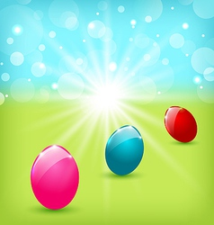 Easter background with colorful eggs vector