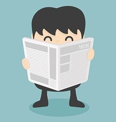 Businessman reading newspaper vector
