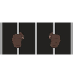 Black man fists holding prison bars vector