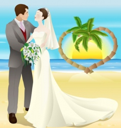 Tropical destination beach wedding vector
