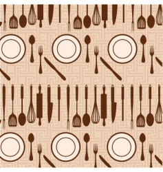 Kitchen and eating pattern vector