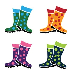 set of colorful gumboots vector image