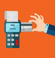 Hand inserting credit card to a pos terminal vector