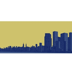 Contour of the big city on a yellow background vector