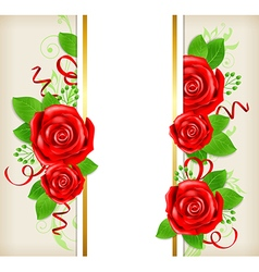Decorative card with red roses vector