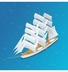 Sailing ship snow-white sails of the ship flat vector
