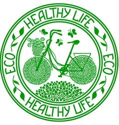Ecological stamp with bicycle vector