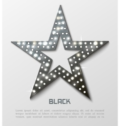 Star retro black metal light banner vector image