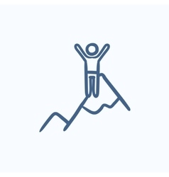 Climbing sketch icon vector