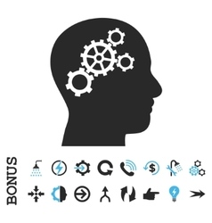 Brain gears flat icon with bonus vector