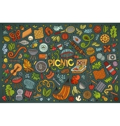 Doodle cartoon set of picnic objects vector image