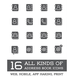 All kinds of contact us address book icons in vector
