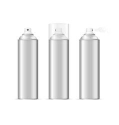 Aluminium spray can template blank set vector