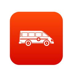 ambulance emergency van icon digital red vector image